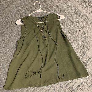 Olive Green Front Tie Tank